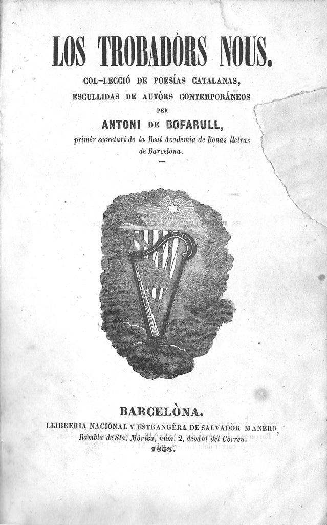 Los trobadors nous, Barcelona, 1858, portada.