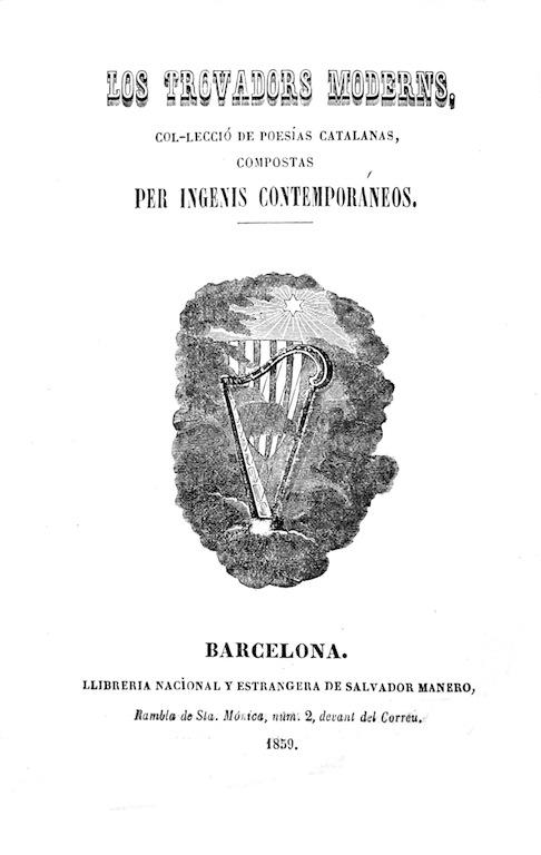 Los trobadors moderns, Barcelona, 1859, portada.