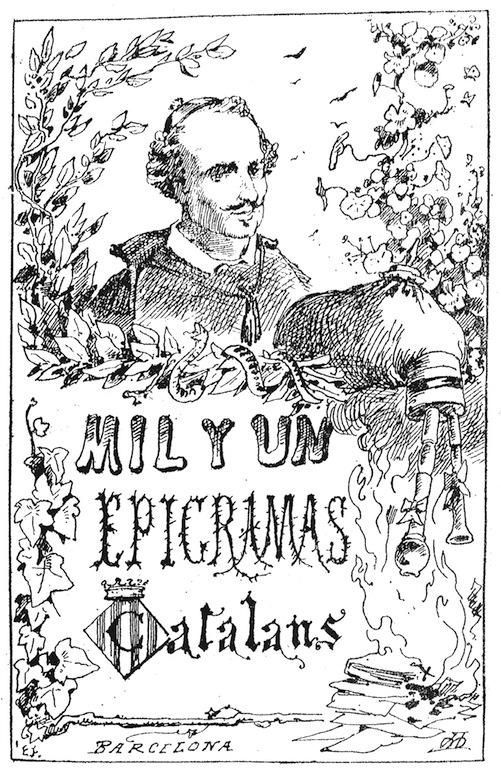 Apeŀles Mestres, portada de Mil y un epigramas catalans (1878)