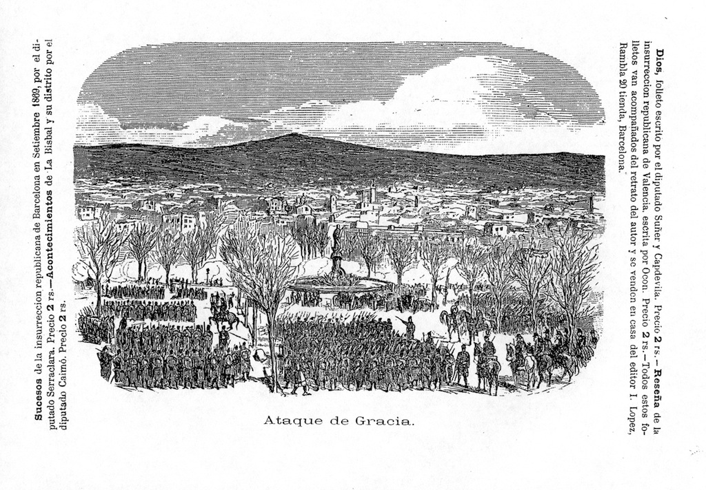tropa als Jardinets de Gràcia disposada a la repressió de la revolta contra les quintes (1870)