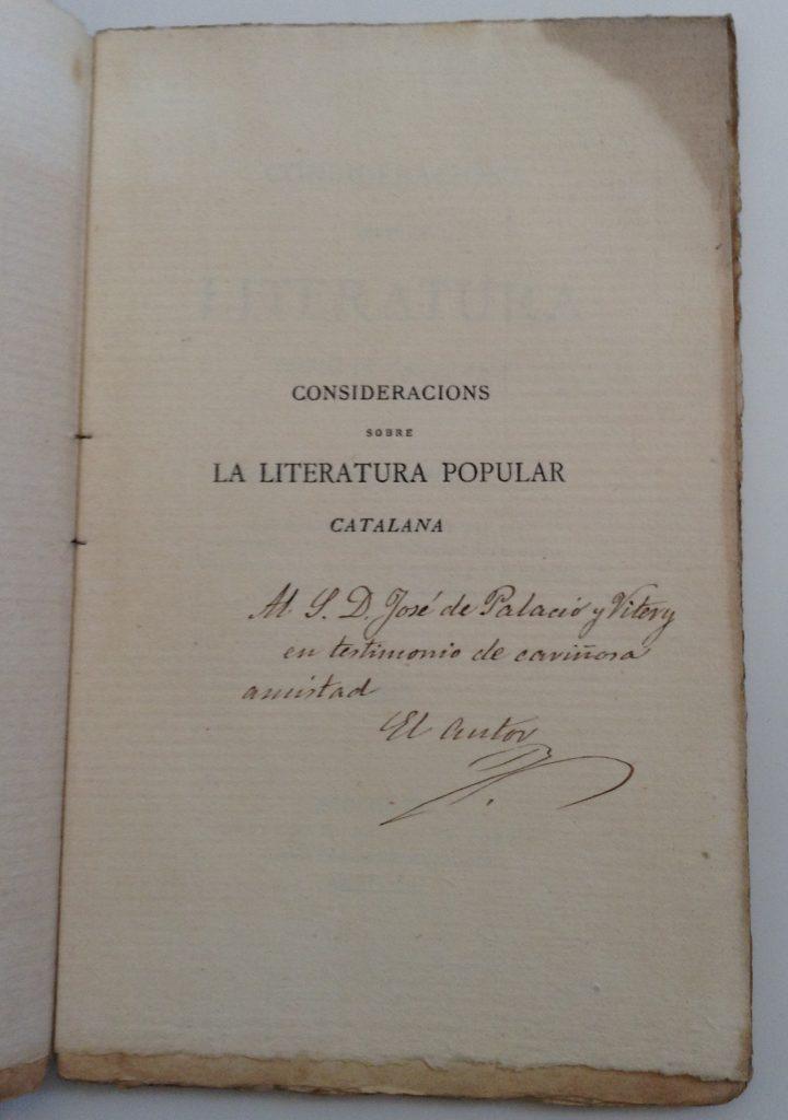 Gaietà Vidal de Valenciano, Consideracions sobre la literatura popular catalana, 1879