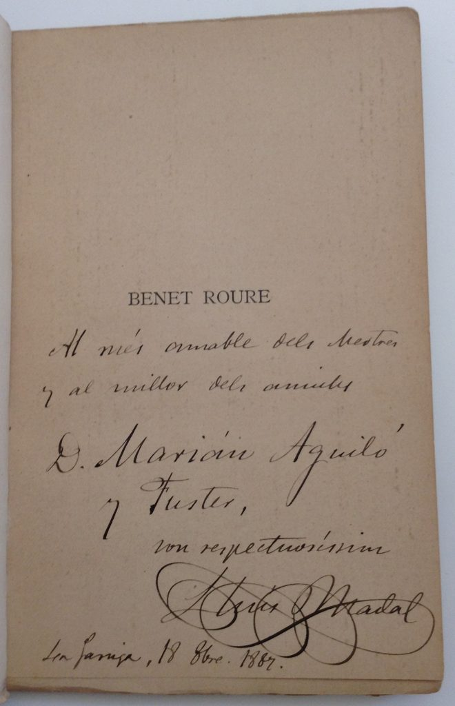 Lluís Bertran Nadal, Benet Roure, 1887