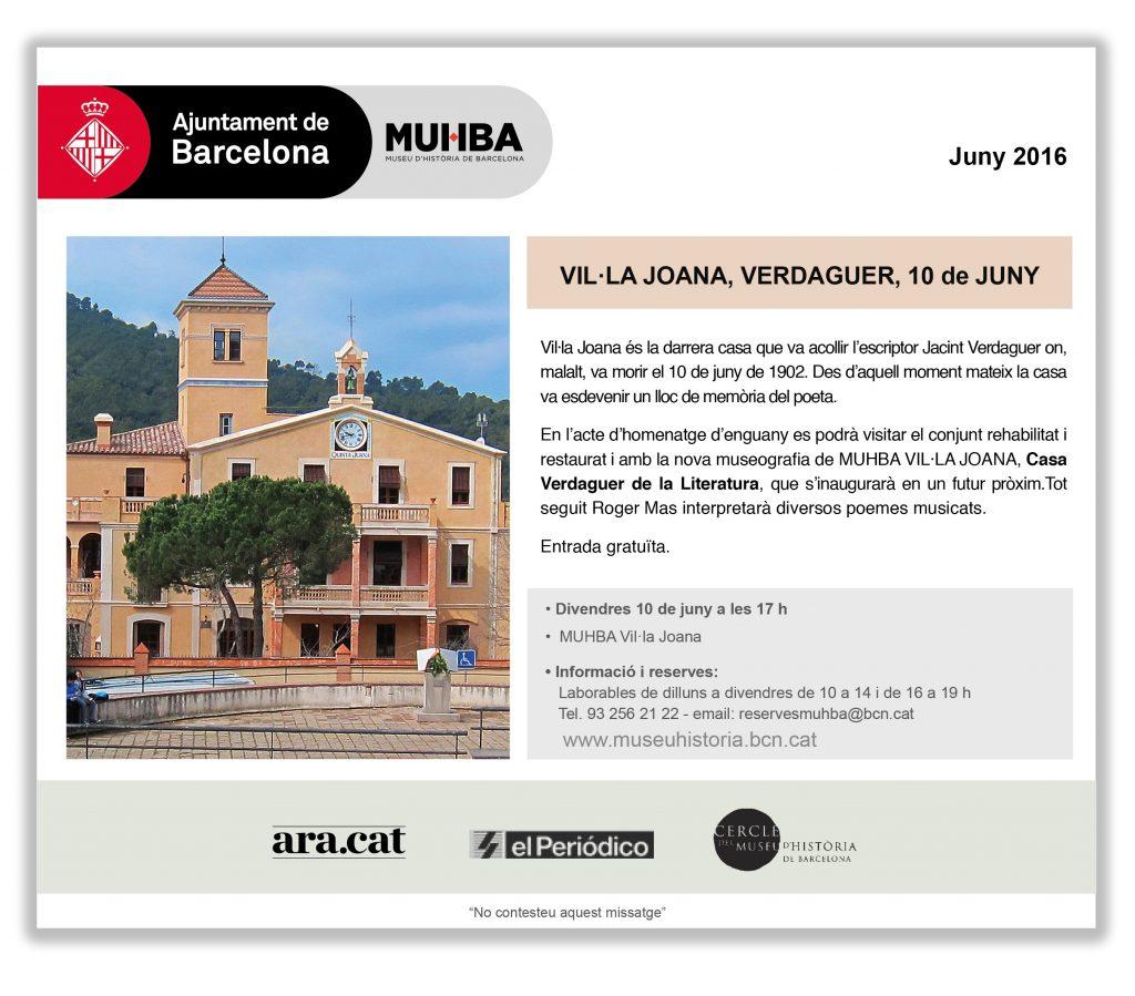 Muhba Vil·la Joana Casa Verdaguer 10 de juny